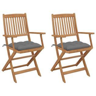 Lumarko Składane krzesła ogrodowe z poduszkami, 2 szt., drewno akacjowe