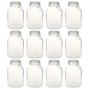 Szklane słoiki z zamknięciem, 12 szt., 3 L