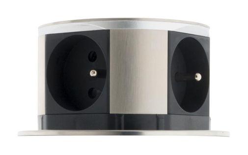 Gniazdo do zabudowy OTIO 760096 inox idealne rozwiązanie na dodatkowe 4 gniazdka nowoczesny design łatwy montaż i użytkowanie