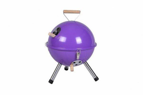 Grill ogrodowy węglowy okrągły, mini grill bbq kolor fioletowy zdjęcie 1