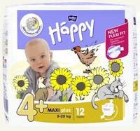 Bella Baby   Pieluszki Jednorazowe Happy -  4+ Maxi Plus 9-20 Kg  - 12 Sztuk
