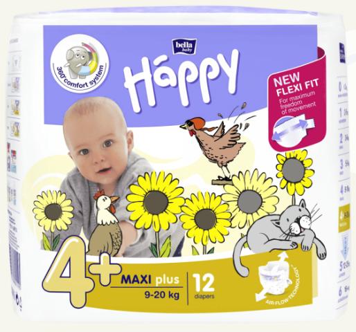 Bella Baby   Pieluszki Jednorazowe Happy -  4+ Maxi Plus 9-20 Kg  - 12 Sztuk na Arena.pl