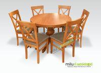 Meble do salonu stół okrągły i 6 krzeseł, krzesło, jadalnia, pokój