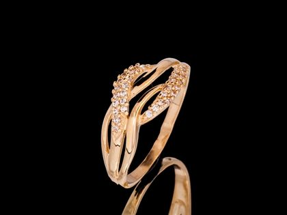 P594 Złoty pierścionek z cyrkoniami. Próba 333