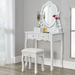 TOALETKA KOSMETYCZNA - JULIA (lustro, stolek, szufladki)