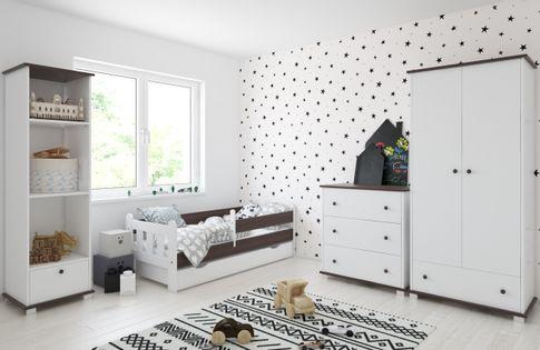 Łóżko STAŚ 140x70 z szufladą + GRATIS : Barierka ochronna i Materac