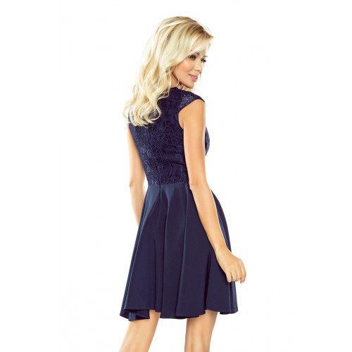 Sukienka MARTA z koronką - GRANATOWA XL zdjęcie 4