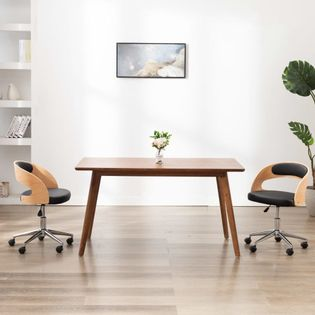 Obrotowe krzesło stołowe, czarne, gięte drewno i sztuczna skóra