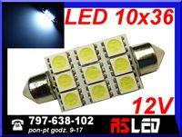 żarówka LED 9 SMD 27 LED 10x36 mm 36mm rurkowa biała zimna 12v