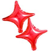 Balony foliowe gwiazdki czerwone 2 sztuki czteroramienne Kolor - Czerwony