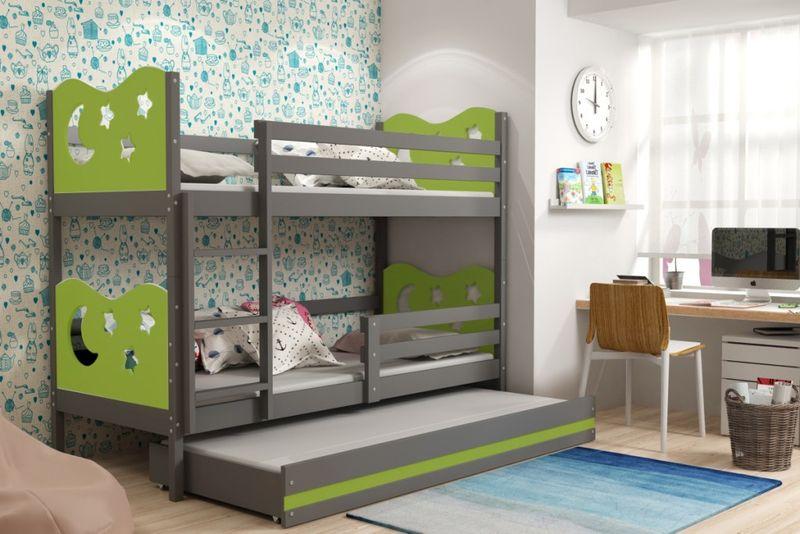łóżko łóżka Meble Dla Dzieci Piętrowe 3 Osobowe Miko 190x80 Szuflada