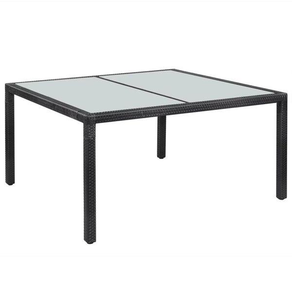 Stół Stolik Ogrodowy Na Taras Balkon Rattanowy Czarny 150x90x75