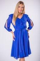 Rozkloszowana sukienka z falbaną na biuście i wiązaniem w pasie - Niebieski 44