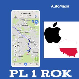 AutoMapa Polski licencja 1 rok - iPhone iOS