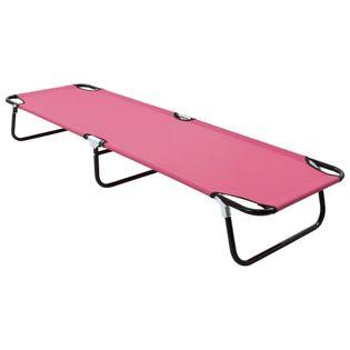 Lumarko Składany leżak, stal, różowy