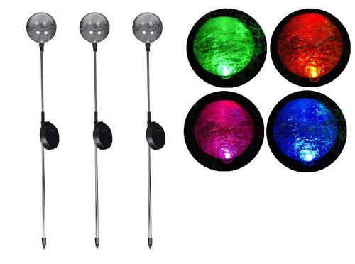 Lampa ogrodowa solarna LED w kształcie kuli (zmienia kolory) komplet 3 szt. D00751 na Arena.pl