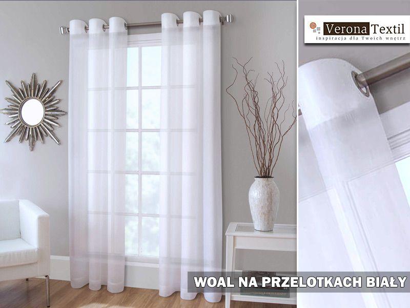 Firanka Gotowa Woal Biały Przelotki 250x140 Firanylaleli