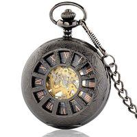 Mechaniczny zegarek kieszonkowy ażurowy czarny