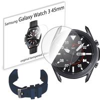 Pasek sportowy opaska i szkło hartowane do Samsung Galaxy Watch 3 45mm ciemnoniebieski