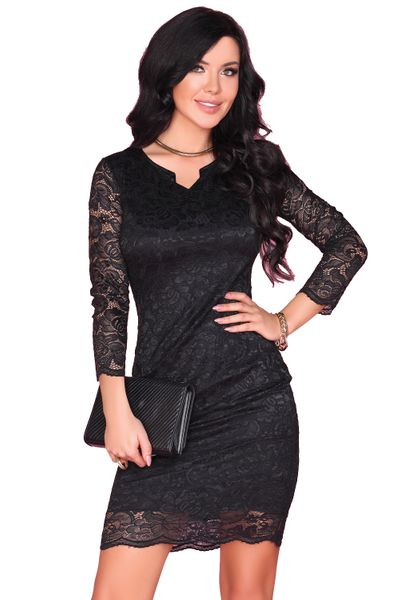 Koronkowa Sukienka przed kolano czarna bardzo seksowna M zdjęcie 1