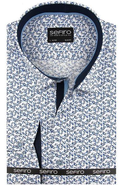 7314df3bb Koszula Męska Sefiro biała w kwiatki SLIM FIT na spinki lub guzik A095 - 41/