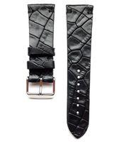 Pasek do zegarka 22mm skóra czarny- krokodyl - polskie - Lamato