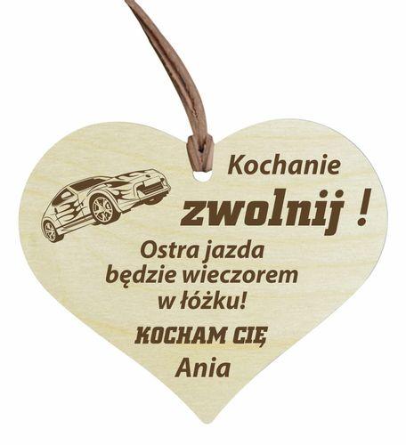 Zawieszka do auta samochodu z grawerem serce na Arena.pl