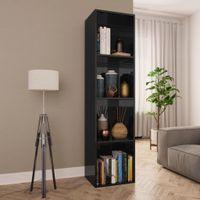 Regał na książki/szafka TV, czarny, wysoki połysk, 36x30x143 cm