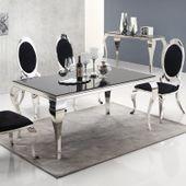 Stół glamour Ludwik - blat szklany - 200 x 100 x 75