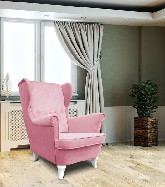 Fotel USZAK, stylowy, nowy. Super cena!!! Pudrowy róż na Arena.pl