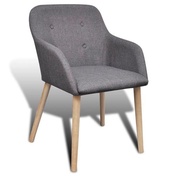 Krzesło Krzesła Do Jadalni Dębowe Tapicerowane Szare 6 Sztuk Arenapl