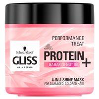Gliss Protein+ Maska Do Włosów Zniszczonych - Nadająca Blask (4W1) - Z Proteinami Soi I Orzechów Babassu  - 400 Ml