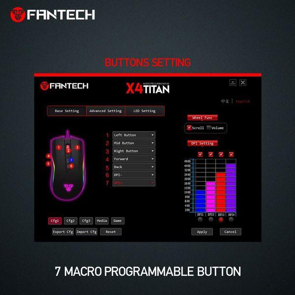 Mysz myszka dla gracza podświetlana 4800DPI Fantech X4 TITAN zdjęcie 8