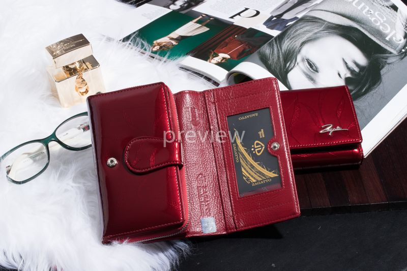 Mały portfel skórzany damski Zagatto czerwony liście RFID ZG-113 Leaf zdjęcie 2