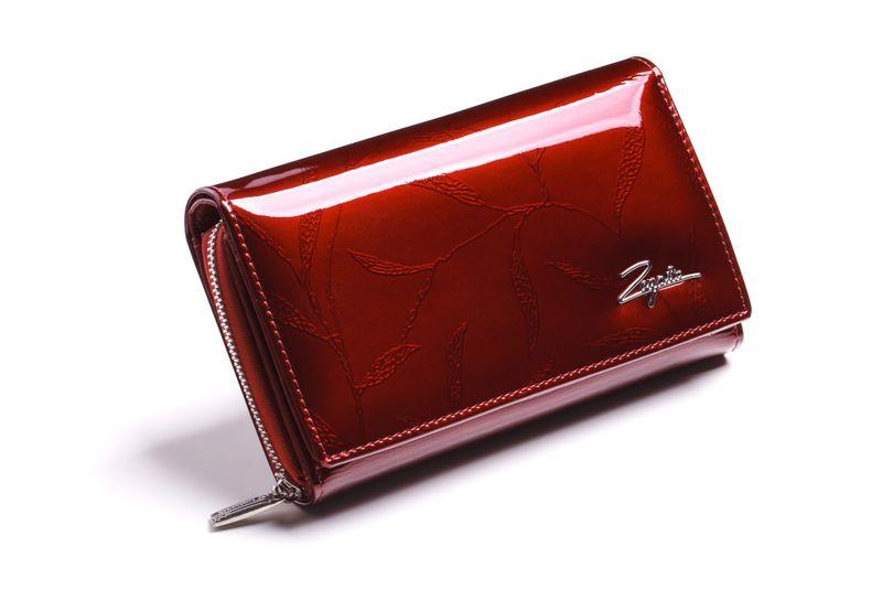 Mały portfel skórzany damski Zagatto czerwony liście RFID ZG-113 Leaf zdjęcie 1