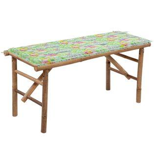 Lumarko Składana ławka ogrodowa z poduszką, 118 cm, bambusowa!