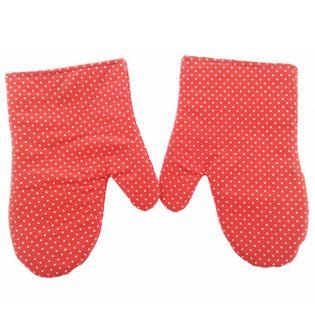 Rękawice kuchenne 17x27 z magnesem 2 szt. kropki czerwone