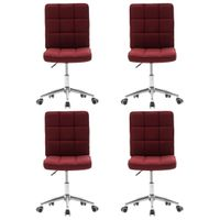 VidaXL Krzesła stołowe, 4 szt., czerwone wino, tapicerowane tkaniną