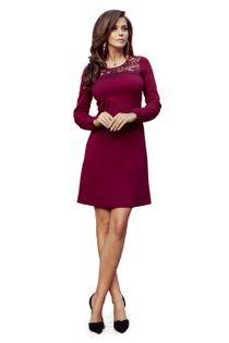 Sukienka z koronkową wstawką na dekolcie - Bordowy L