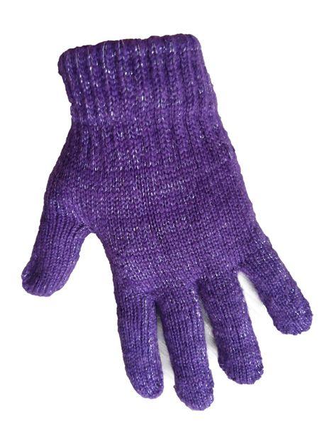 1 Kiddy rękawiczki 5-palczaste dziewczęce fioletowe ze srebrną nitką zdjęcie 1