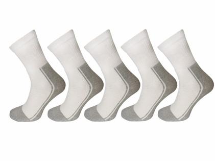 38-40 Białe skarpety frotte bawełniane polskie ciemna stopa dwukolorowe paczka 5 par