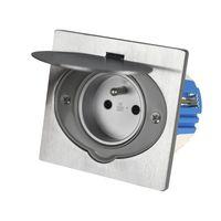Gniazdo podłogowe HBF 135143-PL dwubiegunowe z/u IP 55 aluminium szczotkowane przeznaczone do kuchni biura czy na taras