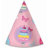 czapeczki RÓŻOWE TORT na urodziny z motylkami 6szt