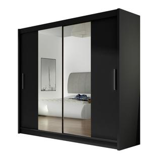 Szafa przesuwna Bega II z lustrem 180cm - pojemna garderoba - CZARNY
