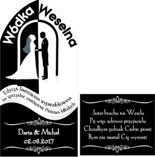 ETYKIETY naklejki wódke weselną KRUPNIK przód+tył