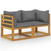 Lumarko 2-osobowa ławka ogrodowa z ciemnoszarymi poduszkami!