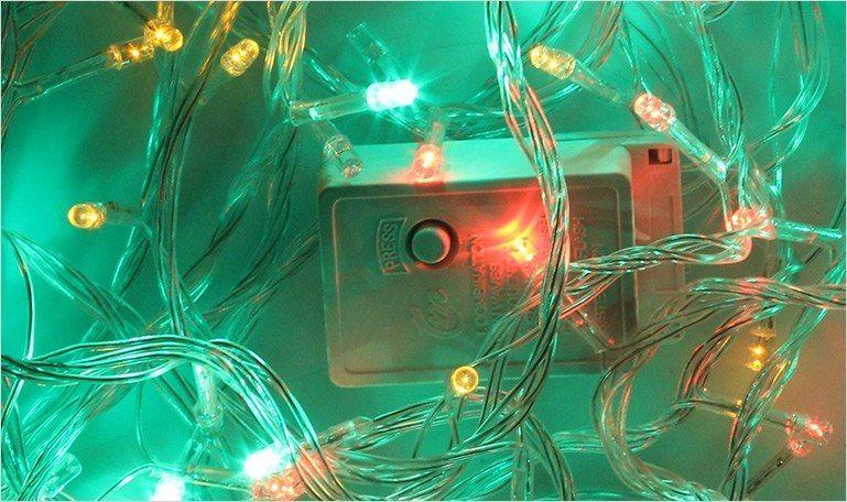 Lampki dekoracyjne choinkowe 100 LED ciepłe białe z programatorem na łańcuchu zdjęcie 3