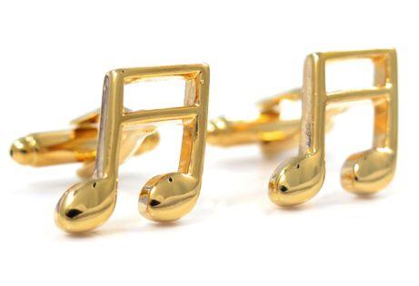 Złote spinki do mankietów - nuty U40