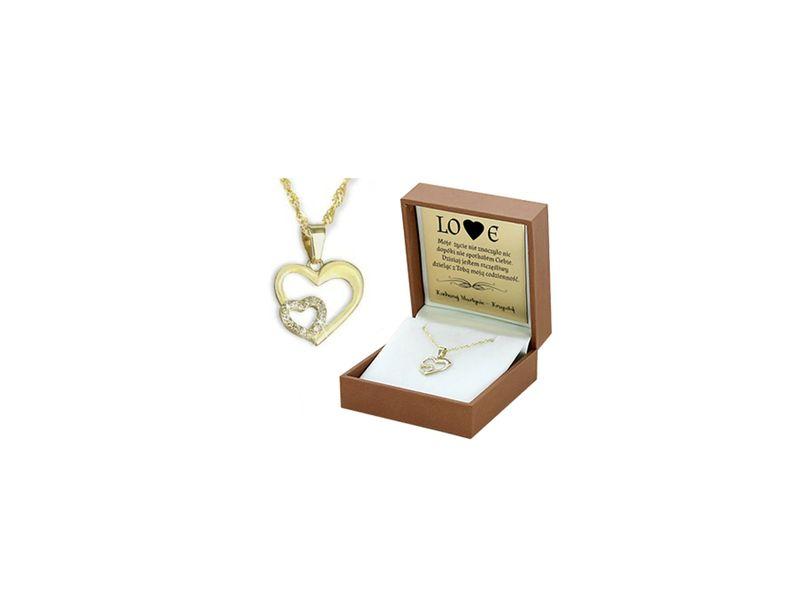 Złoty komplet 585 SERCE prezent WALENTYNKI GRAWER zdjęcie 1