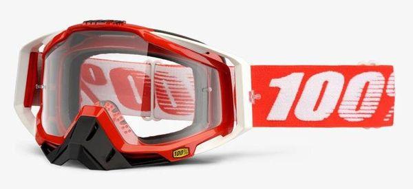Gogle 100% RACECRAFT FIRE RED (Szyba Przezroczysta Anti-Fog + 10 Zrywek) (NEW)